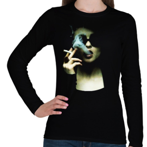 PRINTFASHION Marla - Női hosszú ujjú póló - Fekete