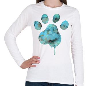 PRINTFASHION Vízszínű Mancs - Női hosszú ujjú póló - Fehér