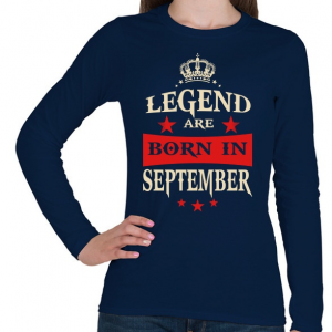 PRINTFASHION A legendák szeptemberben születnek - Női hosszú ujjú póló - Sötétkék