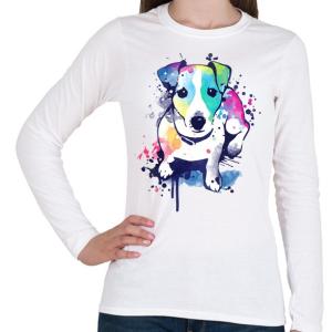PRINTFASHION Színes kutya - Női hosszú ujjú póló - Fehér