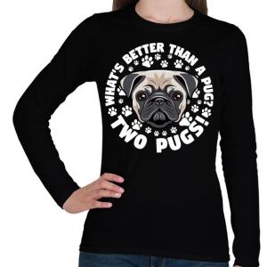 PRINTFASHION Két kutya jobb mint egy - Női hosszú ujjú póló - Fekete