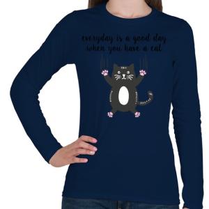 PRINTFASHION Ha van egy macskád - Női hosszú ujjú póló - Sötétkék