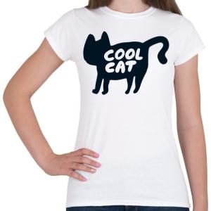 PRINTFASHION Cool Cat - Női póló - Fehér