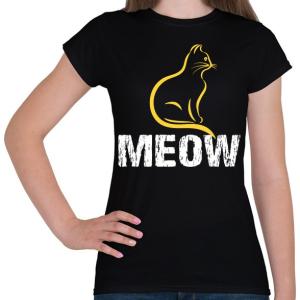 PRINTFASHION MEOW - Női póló - Fekete