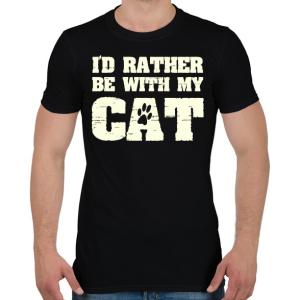 PRINTFASHION Inkább a macskámmal vagyok - Férfi póló - Fekete