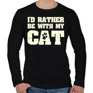 PRINTFASHION Inkább a macskámmal vagyok - Férfi hosszú ujjú póló - Fekete