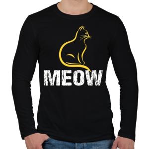PRINTFASHION MEOW - Férfi hosszú ujjú póló - Fekete