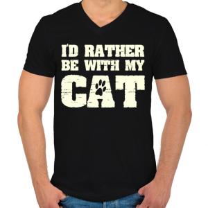 PRINTFASHION Inkább a macskámmal vagyok - Férfi V-nyakú póló - Fekete