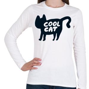 PRINTFASHION Cool Cat - Női hosszú ujjú póló - Fehér