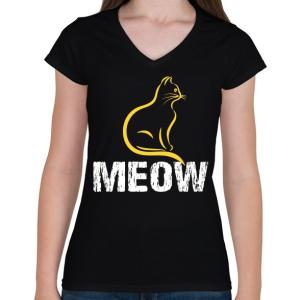 PRINTFASHION MEOW - Női V-nyakú póló - Fekete