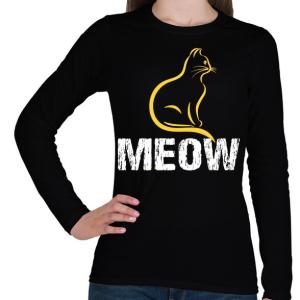 PRINTFASHION MEOW - Női hosszú ujjú póló - Fekete