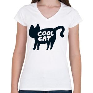 PRINTFASHION Cool Cat - Női V-nyakú póló - Fehér