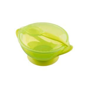 AKUKU Dětská miska s přísavkou a se lžičkou Akuku zelená