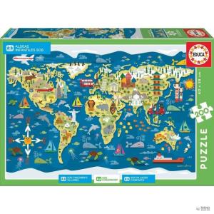 Educa Borras Puzzle Mapamundi Sean Sims 200pz gyerek