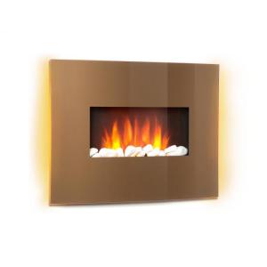 Klarstein Curved Copper L&F elektromos kandalló, 1000/2000 W, ívelt üvegpanel, távirányító, réz