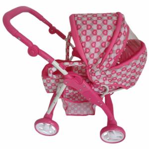 BABY MIX Gyermek babakocsi babáknak 2az1-ben Baby Mix rózsaszín - szivecskés