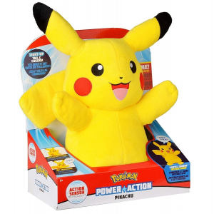 Pokémon Pikachu Power Action plüss figura, fénnyel hanggal