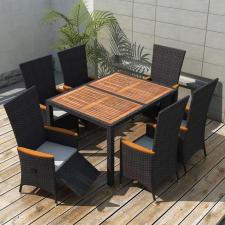 7 darabos fekete polyrattan és akácfa kültéri étkezőszett kerti bútor