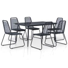 7 részes fekete kültéri polyrattan étkezőgarnitúra kerti bútor