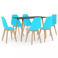 7 részes kék étkezőszett bútor