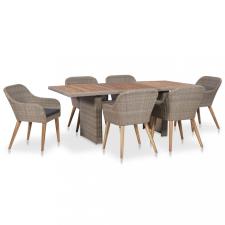 7 részes kültéri polyrattan étkezőgarnitúra párnákkal kerti bútor
