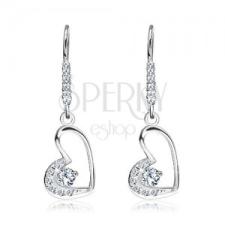 925 ezüst fülbevaló - cirkóniaköves szív és akasztó fülbevaló