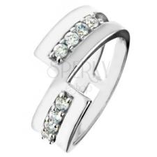 925 ezüst karikagyűrű – megszakított vonal, ragyogó cirkóniák gyűrű