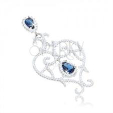 925 ezüst medál, szív kontúr, spirálos vonalak, átlátszó és kék cirkóniák medál