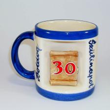 Ablakos bögre Évszámos 30 éves (Fehér, kék csíkkal) vicces ajándék