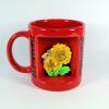 Ablakos bögre Virág, Napraforgó, Szeretettel (Piros)