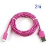 Adatkábel, Micro USB, 2 méter, cipőfűző design, rózsaszín