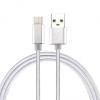 Adatkábel, USB Type-C, 3 méter, szőtt cipőfűző minta, ezüst