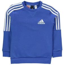 Adidas gyerek pulóver - adidas 3 Stripe Logo Crew Sweatshirt Junior Boys Blue White