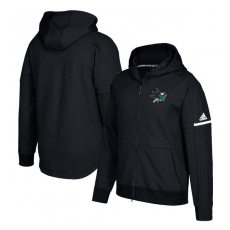 Adidas San Jose Sharks fĂŠrfi kapucnis pulóver black Authentic Pro Squad ID Full-Zip Hood - M