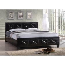 Ágy rácsozott deszkával, fekete ekobőr, 160x200, CARISA ágy és ágykellék