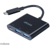 Akasa AK-CBCA08-15BK Type-C power delivery adapter with two-port USB 3.0 hub