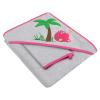 AKUKU Baba kifogó kapucnival és fürdőkesztyűvel 80x80 Akuku szürke - rózsaszín vizilóval | Rózsaszín |