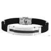 Akzent kaucsuk karkötőnemesacéleférfienten, ezüst , IP fekete , Szélesség 12 mm, hosszúság21 cm