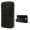 Alcatel OT-7041D / 7040 Pop C7, Oldalra nyíló tok, textil hatás, fekete