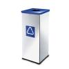 Alda Prestige EKO Square fém szemétkosár szelektív hulladékgyűjtéshez, 60 l űrtartalom, Kapacitás: 60 L, Szín: Szürke/ezüst, Kupak színe: Kék, Hulladék sze%