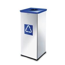 Alda Prestige EKO Square fém szemétkosár szelektív hulladékgyűjtéshez, 60 l űrtartalom, Kapacitás: 60 L, Szín: Szürke/ezüst, Kupak színe: Kék, Hulladék sze% szemetes