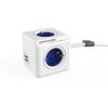 Allocacoc Elosztó, 4 aljzat, 2 USB csatlakozó, 1,5 m kábelhosszúság, ALLOCACOC  PowerCube Extended USB DE , fehér-kék