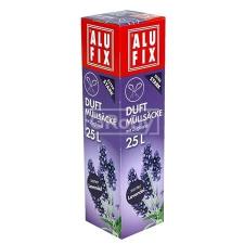 ALUFIX Szemeteszsák, zárószalagos, 25 l, 15 db, ALUFIX, levendula tisztító- és takarítószer, higiénia