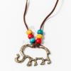 Antikolt elefánt medál bőr nyakláncon jwr-1494
