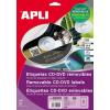 APLI Eltávolítható CD/DVD-címke, külső átmérő 114 mm, belső átmérő 41 mm