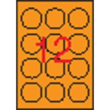 APLI Etikett, 60 mm kör, színes, APLI, neon narancs, 240 etikett/csomag etikett