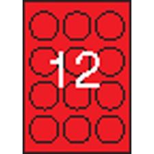 APLI Etikett, 60 mm kör, színes, APLI, neon piros, 240 etikett/csomag etikett