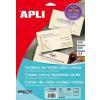 APLI Névjegykártya, 89x51 mm, 230 g, elõre vágott, texturizált, APLI, krémszínû