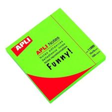 APLI Öntapadó jegyzettömb, 75x75 mm, 100 lap, APLI, neon zöld jegyzettömb