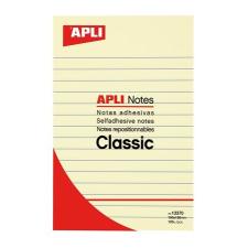 APLI Öntapadó jegyzettömb, vonalas, 100x150 mm, 100 lap, APLI, sárga jegyzettömb